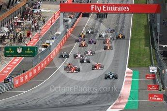 World © Octane Photographic Ltd. Formula 1 - Austria Grand Prix - Sunday - Race. Valtteri Bottas - Mercedes AMG Petronas F1 W08 EQ Energy+ leads race start. Red Bull Ring, Spielberg, Austria. Sunday 9th July 2017. Digital Ref: 1875LB1D4790