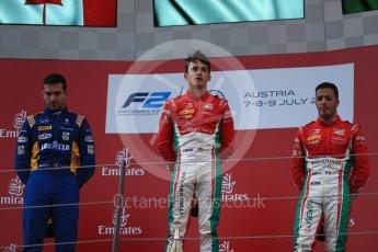 World © Octane Photographic Ltd. Formula 1 - Austria Grand Prix - Saturday - FIA Formula 2 Race 1. Charles Leclerc - PREMA Racing, Nicholas Latifi - DAMS and Antonio Fuoco - PREMA Racing. Red Bull Ring, Spielberg, Austria. Saturday 8th July 2017. Digital Ref: 1863LB1D3270