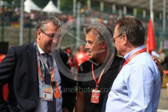 World © Octane Photographic Ltd. Formula 1 - Belgian Grand Prix - Grid. Jean Alesi and Pierre Yves Jeholet - Minister for the Economy. Circuit de Spa Francorchamps, Belgium. Sunday 27th August 2017. Digital Ref:1932LB1D8323