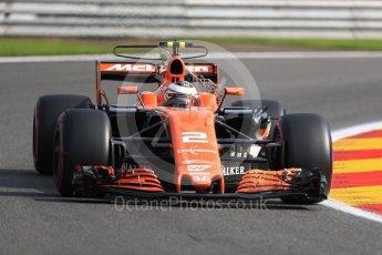 World © Octane Photographic Ltd. Formula 1 - Belgian Grand Prix - Friday - Practice 1. Stoffel Vandoorne - McLaren Honda MCL32. Circuit de Francorchamps, Belgium. Friday 25th August 2017. Digital Ref:1922LB1D5005