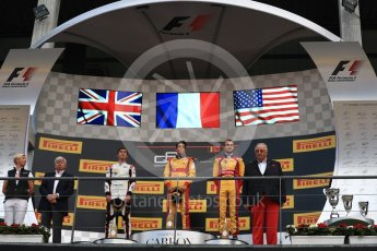 World © Octane Photographic Ltd. GP3 - Race 2. Guiliano Alsei (1st) – Trident, George Russell (2nd) - ART Grand Prix and Ryan Tveter (3rd) – Trident. Belgian Grand Pix - Spa Francorchamps, Belgium. Sunday 27th August 2017. Digital Ref: 1930LB1D7716
