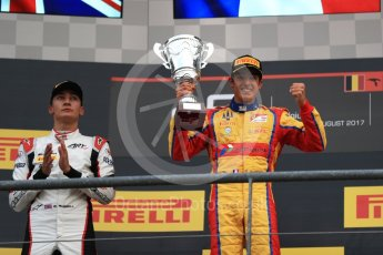 World © Octane Photographic Ltd. GP3 - Race 2. Guiliano Alsei (1st) – Trident and George Russell (2nd). Belgian Grand Pix - Spa Francorchamps, Belgium. Sunday 27th August 2017. Digital Ref: 1930LB1D7726