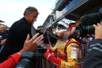 World © Octane Photographic Ltd. GP3 - Race 2. Guiliano Alsei with father Jean – Trident. Belgian Grand Pix - Spa Francorchamps, Belgium. Sunday 27th August 2017. Digital Ref: 1930LB2D7086