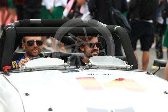 World © Octane Photographic Ltd. Formula 1 - British Grand Prix - Sunday - Drivers Parade. Fernando Alonso - McLaren Honda MCL32. Silverstone, UK. Sunday 16th July 2017. Digital Ref: 1891LB1D3588