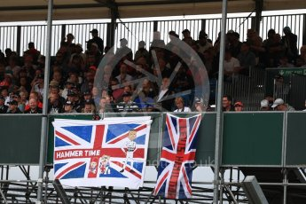 World © Octane Photographic Ltd. Formula 1 - British Grand Prix - Sunday - Grid. Lewis Hamilton fans flags. Silverstone, UK. Sunday 16th July 2017. Digital Ref: 1891LB1D3615