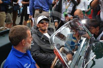 World © Octane Photographic Ltd. Formula 1 - British Grand Prix - Sunday - Drivers Parade. Lewis Hamilton - Mercedes AMG Petronas F1 W08 EQ Energy+. Silverstone, UK. Sunday 16th July 2017. Digital Ref: 1891LB2D9743