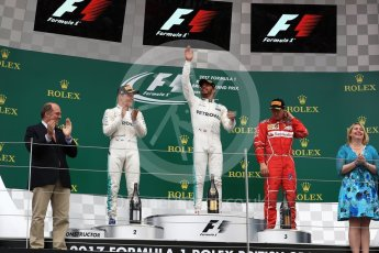 World © Octane Photographic Ltd. Formula 1 - British Grand Prix - Sunday - Race Podium. Lewis Hamilton and Valtteri Bottas - Mercedes AMG Petronas F1 W08 EQ Energy+ and Kimi Raikkonen - Scuderia Ferrari SF70H. Silverstone, UK. Sunday 16th July 2017. Digital Ref: 1893LB1D4687