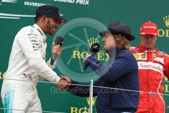 World © Octane Photographic Ltd. Formula 1 - British Grand Prix - Sunday - Race Podium. Lewis Hamilton - Mercedes AMG Petronas F1 W08 EQ Energy+ and Owen Wilson. Silverstone, UK. Sunday 16th July 2017. Digital Ref: 1893LB1D5187