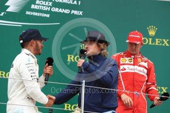 World © Octane Photographic Ltd. Formula 1 - British Grand Prix - Sunday - Race Podium. Lewis Hamilton - Mercedes AMG Petronas F1 W08 EQ Energy+ and Owen Wilson. Silverstone, UK. Sunday 16th July 2017. Digital Ref: 1893LB1D5191