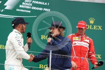 World © Octane Photographic Ltd. Formula 1 - British Grand Prix - Sunday - Race Podium. Lewis Hamilton - Mercedes AMG Petronas F1 W08 EQ Energy+ and Owen Wilson. Silverstone, UK. Sunday 16th July 2017. Digital Ref: 1893LB1D5192