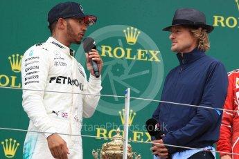 World © Octane Photographic Ltd. Formula 1 - British Grand Prix - Sunday - Race Podium. Lewis Hamilton - Mercedes AMG Petronas F1 W08 EQ Energy+ and Owen Wilson. Silverstone, UK. Sunday 16th July 2017. Digital Ref: 1893LB1D5214