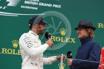 World © Octane Photographic Ltd. Formula 1 - British Grand Prix - Sunday - Race Podium. Lewis Hamilton - Mercedes AMG Petronas F1 W08 EQ Energy+ and Owen Wilson. Silverstone, UK. Sunday 16th July 2017. Digital Ref: 1893LB1D5223