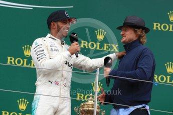 World © Octane Photographic Ltd. Formula 1 - British Grand Prix - Sunday - Race Podium. Lewis Hamilton - Mercedes AMG Petronas F1 W08 EQ Energy+ and Owen Wilson. Silverstone, UK. Sunday 16th July 2017. Digital Ref: 1893LB1D5234