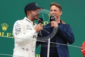 World © Octane Photographic Ltd. Formula 1 - British Grand Prix - Sunday - Race Podium. Lewis Hamilton - Mercedes AMG Petronas F1 W08 EQ Energy+ and Jenson Button. Silverstone, UK. Sunday 16th July 2017. Digital Ref: 1893LB1D5357