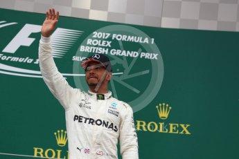 World © Octane Photographic Ltd. Formula 1 - British Grand Prix - Sunday - Race Podium. Lewis Hamilton - Mercedes AMG Petronas F1 W08 EQ Energy+. Silverstone, UK. Sunday 16th July 2017. Digital Ref: 1893LB1D5409