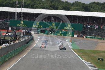 World © Octane Photographic Ltd. Formula 1 - British Grand Prix - Sunday - Race. Lewis Hamilton - Mercedes AMG Petronas F1 W08 EQ Energy+ leads the start. Silverstone, UK. Sunday 16th July 2017. Digital Ref: 1892LB1D3760
