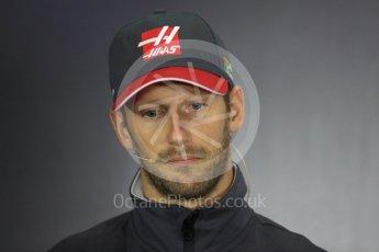World © Octane Photographic Ltd. Formula 1 - British Grand Prix - Thursday - FIA Driver Press Conference. Romain Grosjean - Haas F1 Team. Silverstone, UK. Thursday 13th July 2017. Digital Ref: 1877LB1D7235