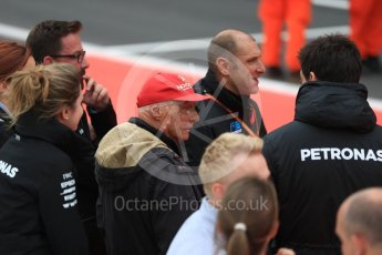 World © Octane Photographic Ltd. GP3 race 1 Parc Ferme - British Grand Prix. Toto Wolff - Executive Director & Head of Mercedes-Benz Motorsport and Niki Lauda - Non-Executive Chairman of Mercedes-Benz Motorsport. Silverstone, UK. Saturday 15th July 2017. Digital Ref: 1879LB1D2527
