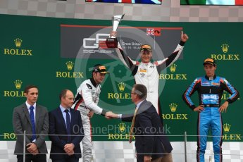 World © Octane Photographic Ltd. GP3 - Race 1. George Russell (1st) and Anthoine Hubert (2nd) - ART Grand Prix and Allessio Lorando (3rd) – Jenzer Motorsport. British Grand Prix - Silverstone, UK. Saturday 15th July 2017. Digital Ref: 1879LB1D2673