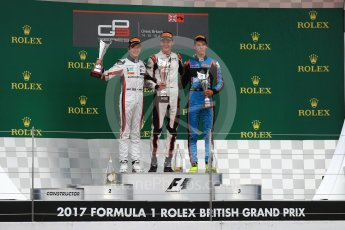 World © Octane Photographic Ltd. GP3 - Race 1. George Russell (1st) and Anthoine Hubert (2nd) - ART Grand Prix and Allessio Lorando (3rd) – Jenzer Motorsport. British Grand Prix - Silverstone, UK. Saturday 15th July 2017. Digital Ref: 1879LB1D2798