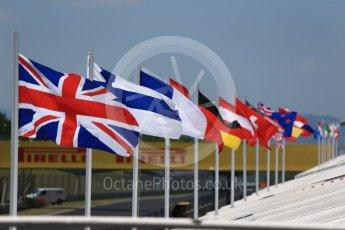 World © Octane Photographic Ltd. Formula 1 - Hungarian Pirelli tyre test. National flags. Hungaroring, Budapest, Hungary. Tuesday 1st August 2017. Digital Ref: