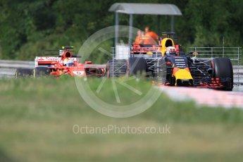 World © Octane Photographic Ltd. Formula 1 - Hungarian in-season testing. Sebastian Vettel - Scuderia Ferrari SF70H and Pierre Gasly - Red Bull Racing RB13. Hungaroring, Budapest, Hungary. Wednesday 2nd August 2017. Digital Ref: