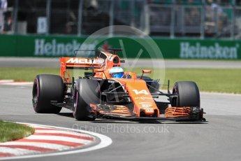 World © Octane Photographic Ltd. Formula 1 - Canadian Grand Prix - Saturday - Qualifying. Fernando Alonso - McLaren Honda MCL32. Circuit Gilles Villeneuve, Montreal, Canada. Saturday 10th June 2017. Digital Ref: 1854LB1D6725