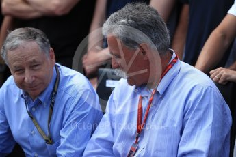 World © Octane Photographic Ltd. Formula 1 - Canadian Grand Prix - Sunday Drivers Parade & Grid. Chase Carey - Chief Executive Officer of the Formula One Group and Jean Todt – President of FIA. Circuit Gilles Villeneuve, Montreal, Canada. Sunday 11th June 2017. Digital Ref: