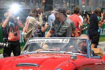 World © Octane Photographic Ltd. Formula 1 - Canadian Grand Prix - Sunday Drivers Parade & Grid. Fernando Alonso - McLaren Honda MCL32. Circuit Gilles Villeneuve, Montreal, Canada. Sunday 11th June 2017. Digital Ref: 1856LB1D7426