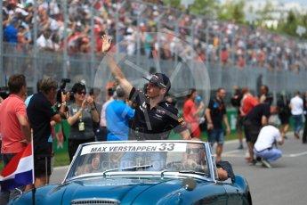 World © Octane Photographic Ltd. Formula 1 - Canadian Grand Prix - Sunday Drivers Parade & Grid. Max Verstappen - Red Bull Racing RB13. Circuit Gilles Villeneuve, Montreal, Canada. Sunday 11th June 2017. Digital Ref: 1856LB1D7478