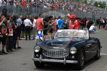 World © Octane Photographic Ltd. Formula 1 - Canadian Grand Prix - Sunday Drivers Parade & Grid. Kimi Raikkonen - Scuderia Ferrari SF70H. Circuit Gilles Villeneuve, Montreal, Canada. Sunday 11th June 2017. Digital Ref: 1856LB1D7491