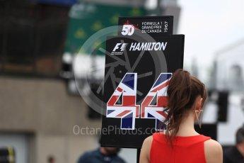 World © Octane Photographic Ltd. Formula 1 - Canadian Grand Prix - Sunday Drivers Parade & Grid. Lewis Hamilton - Mercedes AMG Petronas F1 W08 EQ Energy+. Circuit Gilles Villeneuve, Montreal, Canada. Sunday 11th June 2017. Digital Ref: 1856LB1D7526