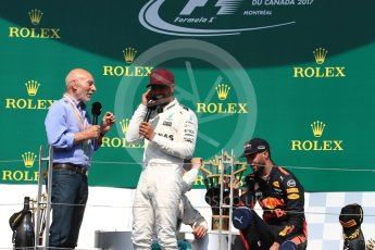 World © Octane Photographic Ltd. Formula 1 - Canadian Grand Prix - Sunday Race - Podium. Lewis Hamilton - Mercedes AMG Petronas F1 W08 EQ Energy+ and Sir Patrick Stewart. Circuit Gilles Villeneuve, Montreal, Canada. Sunday 11th June 2017. Digital Ref: 1858LB1D8842