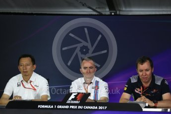 World © Octane Photographic Ltd. Formula 1 - Canadian Grand Prix - Friday FIA Team Personnel Press Conference. Yusuke Hasegawa – Chief of Honda F1 project, Paddy Lowe - Chief Technical Officer at Williams Martini Racing and Jody Egginton - Head of Vehicle Performance. Circuit Gilles Villeneuve, Montreal, Canada. Friday 9th June 2017. Digital Ref: 1852LB2D2719