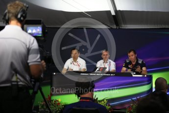 World © Octane Photographic Ltd. Formula 1 - Canadian Grand Prix - Friday FIA Team Personnel Press Conference. Yusuke Hasegawa – Chief of Honda F1 project, Paddy Lowe - Chief Technical Officer at Williams Martini Racing and Jody Egginton - Head of Vehicle Performance. Circuit Gilles Villeneuve, Montreal, Canada. Friday 9th June 2017. Digital Ref: 1852LB2D2725