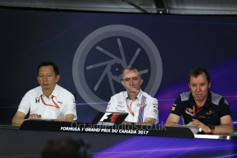 World © Octane Photographic Ltd. Formula 1 - Canadian Grand Prix - Friday FIA Team Personnel Press Conference. Yusuke Hasegawa – Chief of Honda F1 project, Paddy Lowe - Chief Technical Officer at Williams Martini Racing and Jody Egginton - Head of Vehicle Performance. Circuit Gilles Villeneuve, Montreal, Canada. Friday 9th June 2017. Digital Ref: 1852LB2D2734