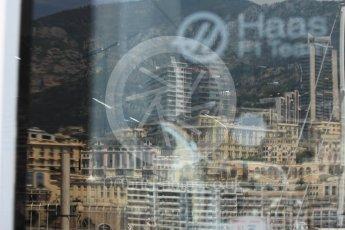 World © Octane Photographic Ltd. Formula 1 - Monaco Grand Prix Setup. Haas F1 Team logo with Monaco reflection. Monaco, Monte Carlo. Wednesday 24th May 2017. Digital Ref: