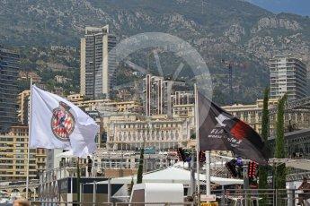 World © Octane Photographic Ltd. Formula 1 - Monaco Grand Prix Setup. F1 and ACM flags with Monaco backdrop. Monaco, Monte Carlo. Wednesday 24th May 2017. Digital Ref: