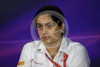 World © Octane Photographic Ltd. Formula 1 - Spanish Grand Prix – FIA Team Press Conference – Part 2. Monisha Kaltenborn – Team Principal of Sauber Motorsport. Circuit de Barcelona - Catalunya. Thursday 11th May 2017. Digital Ref: 1815LB1D0192