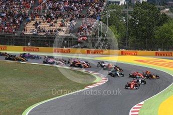 World © Octane Photographic Ltd. Formula 1 - Spanish Grand Prix Race. First lap drama, Vettel leads Hamilton ahead of Bottas and Raikkonen and Verstappen make contact. Circuit de Barcelona - Catalunya, Spain. Sunday 14th May 2017. Digital Ref:1825LB1D3832