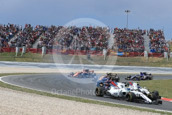 World © Octane Photographic Ltd. Formula 1 - Spanish Grand Prix Race. Felipe Massa and Lance Stroll - Williams Martini Racing FW40. Circuit de Barcelona - Catalunya, Spain. Sunday 14th May 2017. Digital Ref:1825LB1D3956