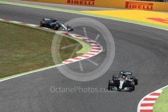 World © Octane Photographic Ltd. Formula 1 - Spanish Grand Prix Race. Lewis Hamilton and Valtteri Bottas - Mercedes AMG Petronas F1 W08 EQ Energy+. Circuit de Barcelona - Catalunya, Spain. Sunday 14th May 2017. Digital Ref:1825LB1D4033