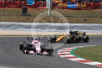 World © Octane Photographic Ltd. Formula 1 - Spanish Grand Prix Race. Esteban Ocon - Sahara Force India VJM10 and Nico Hulkenberg - Renault Sport F1 Team R.S.17. Circuit de Barcelona - Catalunya, Spain. Sunday 14th May 2017. Digital Ref:1825LB1D4135