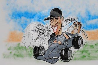 World © Octane Photographic Ltd. Formula 1 - Spanish Grand Prix Race. Lewis Hamilton cartoon - Mercedes AMG Petronas F1 W08 EQ Energy+. Circuit de Barcelona - Catalunya, Spain. Sunday 14th May 2017. Digital Ref:1825LB1D4388