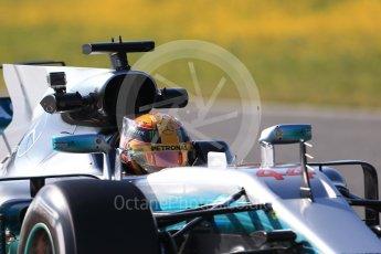 World © Octane Photographic Ltd. Formula 1 - Winter Test 1. Lewis Hamilton - Mercedes AMG Petronas F1 W08 EQ Energy+. Circuit de Barcelona-Catalunya. Monday 27th February 2017. Digital Ref : 1780CB1D6883