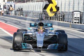 World © Octane Photographic Ltd. Formula 1 - Winter Test 1. Lewis Hamilton - Mercedes AMG Petronas F1 W08 EQ Energy+. Circuit de Barcelona-Catalunya. Monday 27th February 2017. Digital Ref : 1780LB1D8538