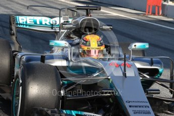 World © Octane Photographic Ltd. Formula 1 - Winter Test 1. Lewis Hamilton - Mercedes AMG Petronas F1 W08 EQ Energy+. Circuit de Barcelona-Catalunya. Monday 27th February 2017. Digital Ref : 1780LB1D8560