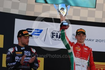 World © Octane Photographic Ltd. FIA Formula 2 (F2) - Race 1. Charles Leclerc – Prema Racing (1st) and Luca Ghiotto – Russian Time (2nd). Circuit de Barcelona - Catalunya, Spain. Friday 12th May 2017. Digital Ref:1819LB1D2448