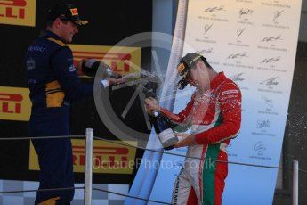 World © Octane Photographic Ltd. FIA Formula 2 (F2) - Race 1. Charles Leclerc – Prema Racing (1st) and Oliver Rowland – DAMS (3rd). Circuit de Barcelona - Catalunya, Spain. Friday 12th May 2017. Digital Ref:1819LB1D2486