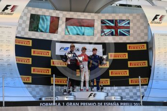 World © Octane Photographic Ltd. FIA Formula 2 (F2) - Race 1. Charles Leclerc – Prema Racing (1st), Luca Ghiotto – Russian Time (2nd) and Oliver Rowland – DAMS (3rd). Circuit de Barcelona - Catalunya, Spain. Friday 12th May 2017. Digital Ref:1819LB1D2502